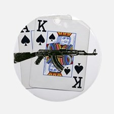 Ace King Spades with AK 47 Round Ornament