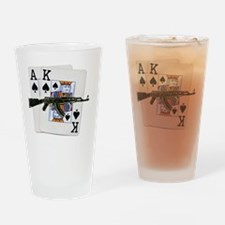 Ace King Spades with AK 47 Drinking Glass