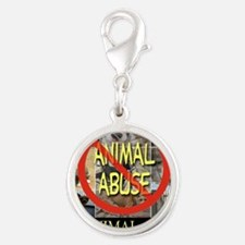No Animal Abuse Silver Round Charm