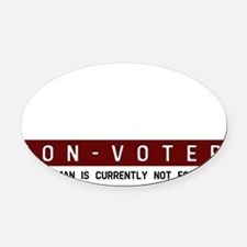 Human, Non-Voter, Bar Code Oval Car Magnet