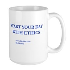 Blue Start Your Day With Ethics 8 by 3  Mug