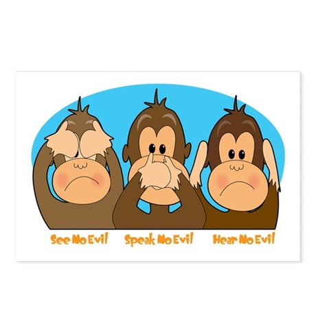 See,Speak,Hear No Evil Postcards (Package of 8)