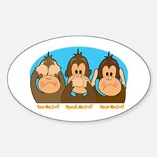 See,Speak,Hear No Evil Oval Decal