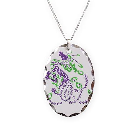 tribal purple dragon Necklace Oval Charm