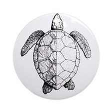 Sea Turtle drawing Round Ornament