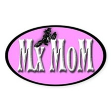 Mx Mom in white Motocross Oval Decal