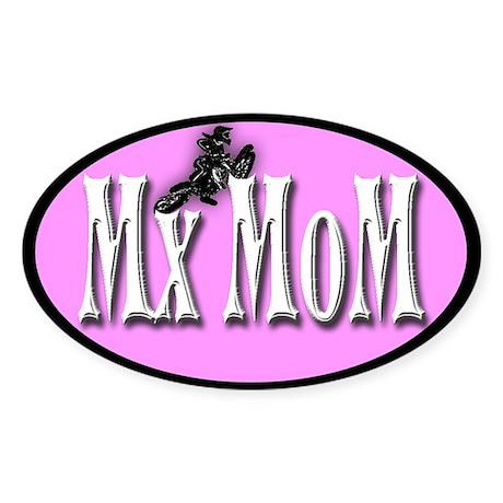 Mx Mom in white Motocross Oval Sticker
