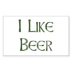 I Like Beer Rectangle Decal