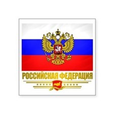 "Russian Flag  COA Square Sticker 3"" x 3"""