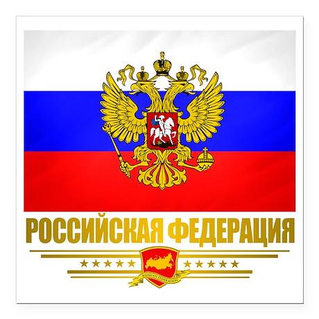 "Russian Flag COA Square Car Magnet 3"" x 3"""