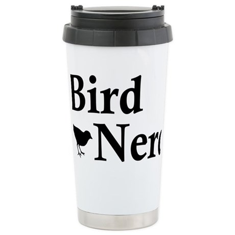 Brid Nerd Black Stainless Steel Travel Mug