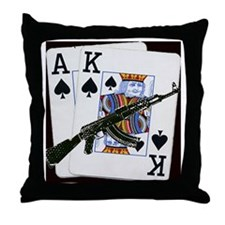 Ace King Spades with AK 47 Throw Pillow