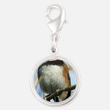 Black-Capped Chickadee Silver Round Charm