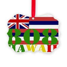 Hawaii T with area code and flag Ornament