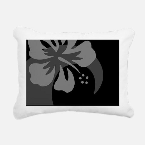 Hibiscus Black Hitch Cov Rectangular Canvas Pillow