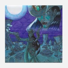 Cowgirl At Night Tile Coaster