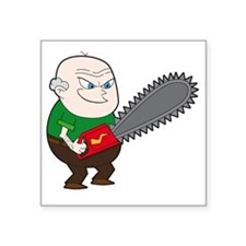 """Angry Chainsaw man Cartoon Square Sticker 3"""" x 3"""""""