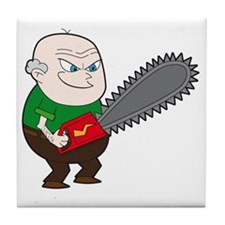 Angry Chainsaw man Cartoon Tile Coaster