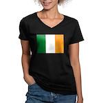 Ireland Flag Women's V-Neck Dark T-Shirt