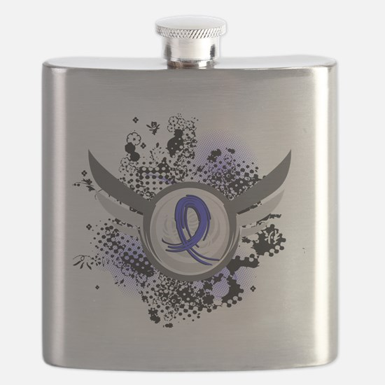 D Blue Ribbon With Wings Huntingtons Disease Flask
