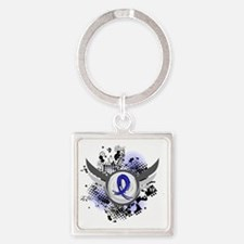 D Blue Ribbon With Wings Huntingto Square Keychain