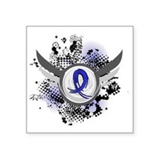 "D Blue Ribbon With Wings Ar Square Sticker 3"" x 3"""