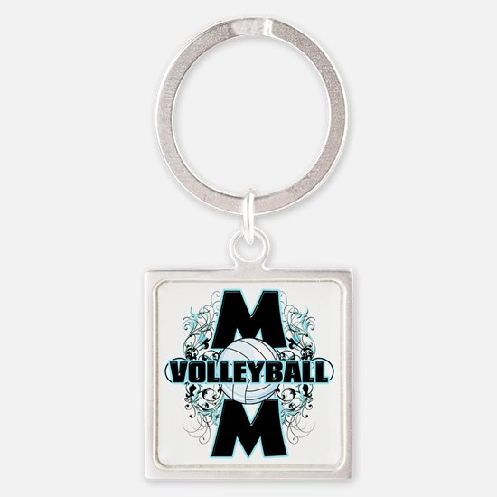 Volleyball Mom (cross) Square Keychain