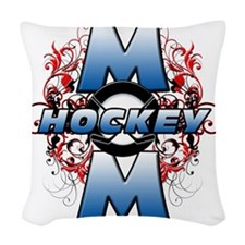 Hockey Mom (cross) Woven Throw Pillow