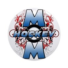 Hockey Mom (cross) Round Ornament