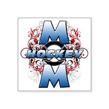 "Hockey Mom (cross) Square Sticker 3"" x 3"""