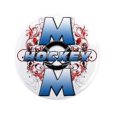 "Hockey Mom (cross) 3.5"" Button"