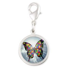 autism butterfly sky - square Silver Round Charm