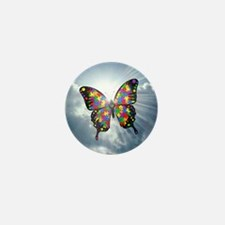 autism butterfly sky - square Mini Button