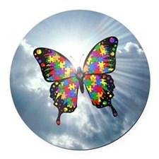 autism butterfly sky - square Round Car Magnet