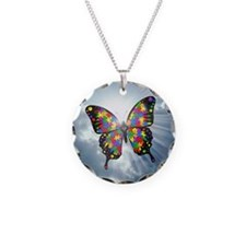 autism butterfly sky - squar Necklace