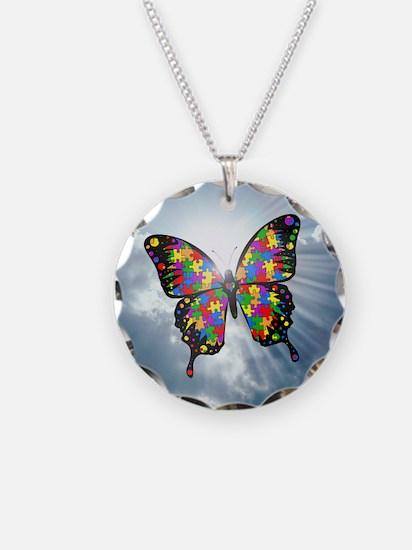 autism butterfly sky - squar Necklace