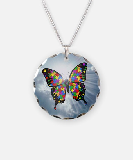 autism butterfly sky - squar Necklace Circle Charm