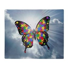 autism butterfly sky - square Throw Blanket