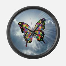 autism butterfly sky - square Large Wall Clock