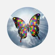 "autism butterfly sky - square 3.5"" Button"