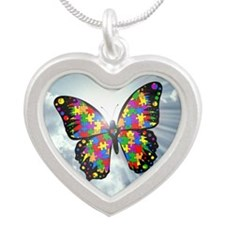 autism butterfly sky - squar Silver Heart Necklace