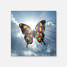 "autism butterfly sky - squa Square Sticker 3"" x 3"""