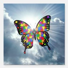 "autism butterfly sky - s Square Car Magnet 3"" x 3"""