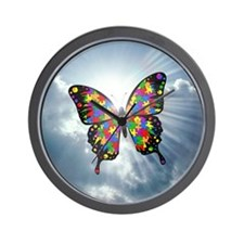 autism butterfly sky - square Wall Clock