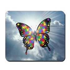 autism butterfly sky - square Mousepad