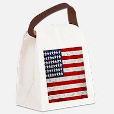 USA Flag, Vintage, Canvas Lunch Bag