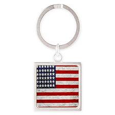 USA Flag, Vintage, Square Keychain