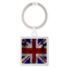 Union Jack, Distressed, Square Keychain