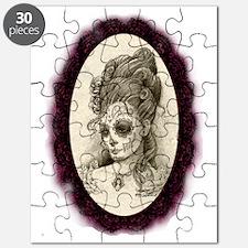 Maroon Dia de los Muertos Puzzle