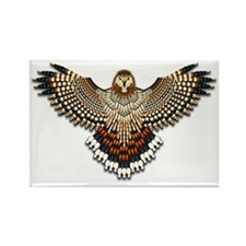 Beadwork Red-Tailed Hawk Rectangle Magnet